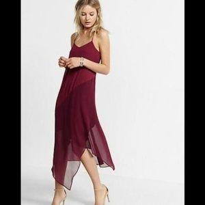 Express Asymmetrical Chiffon Slip Dress L
